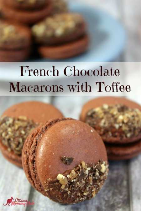 French Chocolate Macarons with Toffee