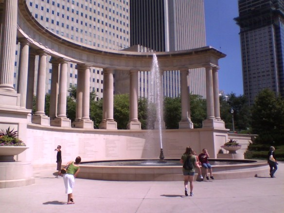Columns and fountain in Millennium Park