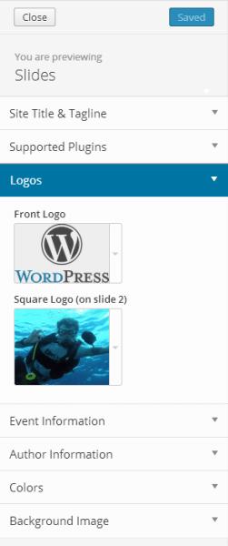 Customizer for slides