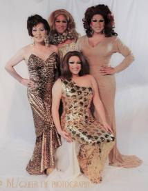 Miss Gay Ohio America Photo Shoot by John Lathram. Back Row: Darah Landon, Erica Rae O'Hara and Virginia West. Front: Selena T West