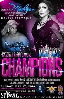 Show Ad | Miss Gay Michigan USofA Newcomer and at Large | Spiral (Lansing, Michigan) | 5/1/2016