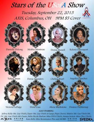 Show Ad | Stars of the USofA | Axis Night Club (Columbus, Ohio) | 9/22/2015
