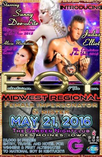 Show Ad | Midwest Entertainer of the Year | The Garden Nightclub (Des Moines, Iowa) | 5/21/2016
