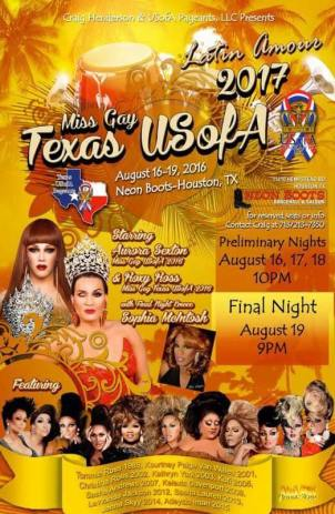 Show Ad | Miss Gay Texas USofA | Neon Boots (Houston, Texas) | 8/16-8/19/2016