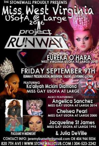 Show Ad | Miss Gay West Virginia USofA | Stonewall Club (Huntington, West Virginia) | 9/9/2016