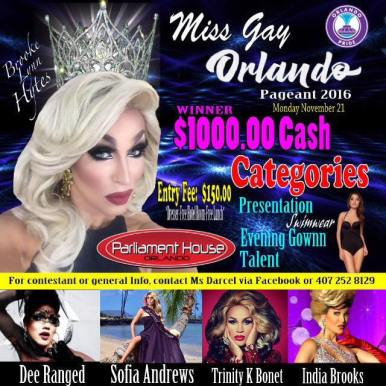 Show Ad | Miss Gay Orlando | Parliament House (Orlando, Florida) | 11/21/2016