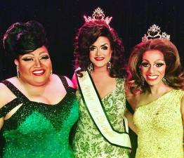 Miss Gay Copper City America 2018 at the Rock in Phoenix, Arizona on January 14th, 2018. Pictured are Anya C. Mann (1st Alternate to Miss Gay Copper City America 2018), Claudia B (Miss Gay Copper City America 2018) and Olivia Gardens (Miss Gay Arizona America 2017).
