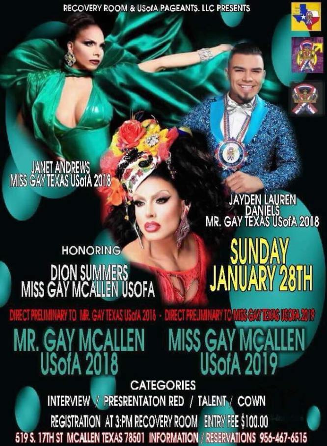Show Ad | Miss Gay McAllen USofA and Mr. Gay McAllen USofA | Recovery Room (McAllen, Texas) | 1/28/2018