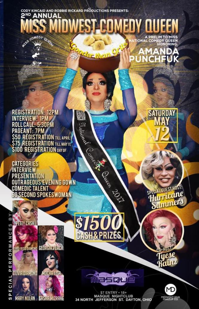 Show Ad | Miss Midwest Comedy Queen | Masque (Dayton, Ohio) | 5/12/2018