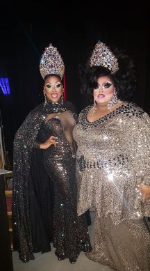 Alexis Mateo and Kristina Kelly at the Star City All American Goddess and at Large prelim in Roanoke, Virginia. January 2017.