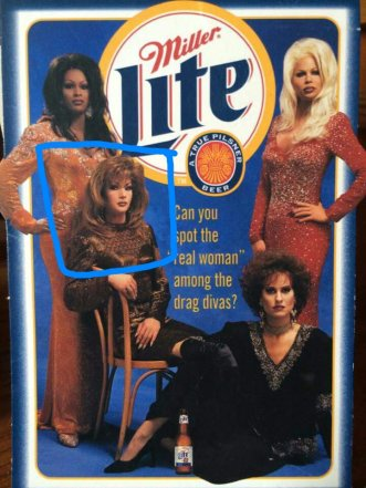 """Top: Alexis Principle, Carla Mandrell and Krista Versace. The """"real woman"""" is at the bottom of the photo. Circa 1998."""