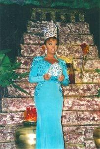 Maya Douglas right before she crowned Nina DiAngelo as Miss Gay Minnesota USofA 1996