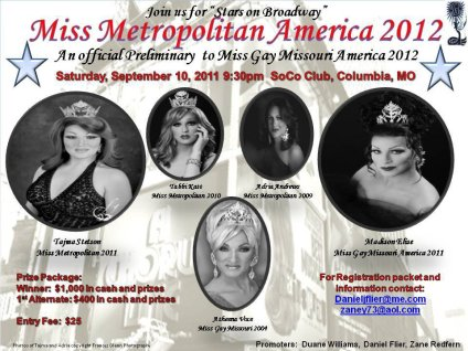 Show Ad | Miss Gay Metropolitan America | SoCo Club (Columbia, Missouri) | 9/10/2011