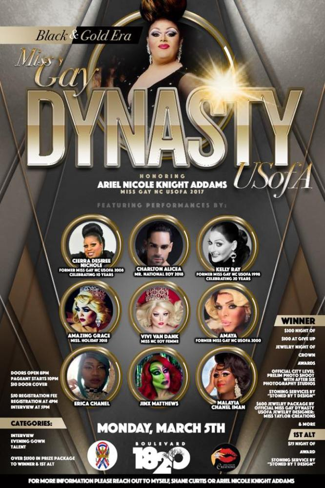 Show Ad | Miss Gay Dynasty USofA | Boulevard 1820 (Charlotte, North Carolina) | 3/5/2018