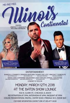 Show Ad | Miss Illinois Continental and Mr. Illinois Continental | The Baton Show Lounge (Chicago, Illinois) | 3/12/2018
