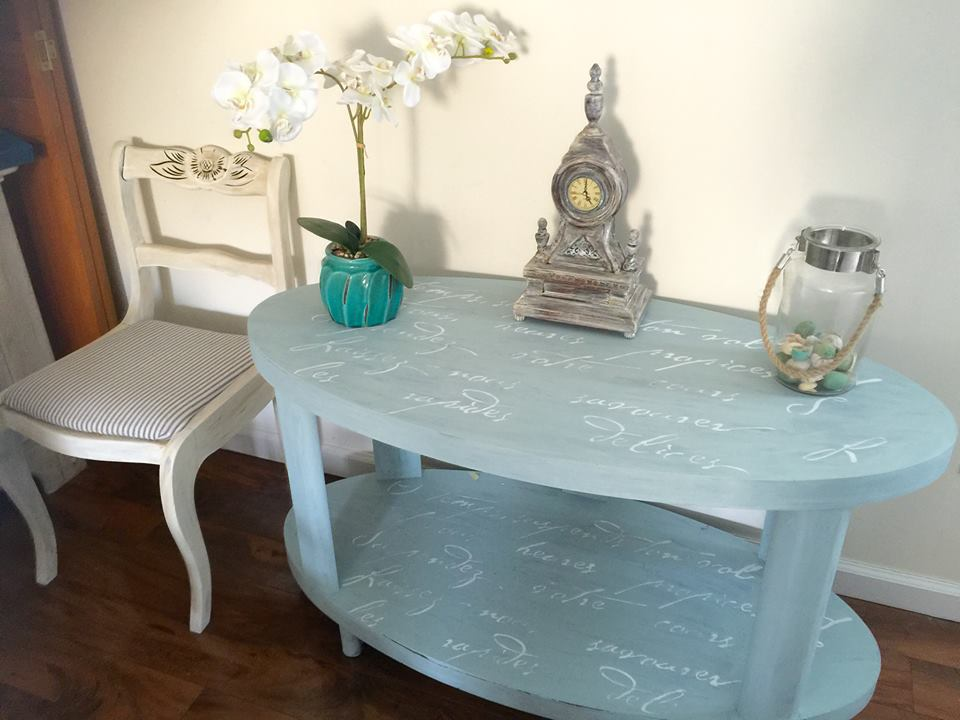 French Poem coffee table makeover