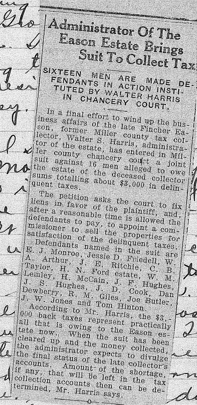Administrator of Eason Estate Sue to Collect Tax 2-9-1925