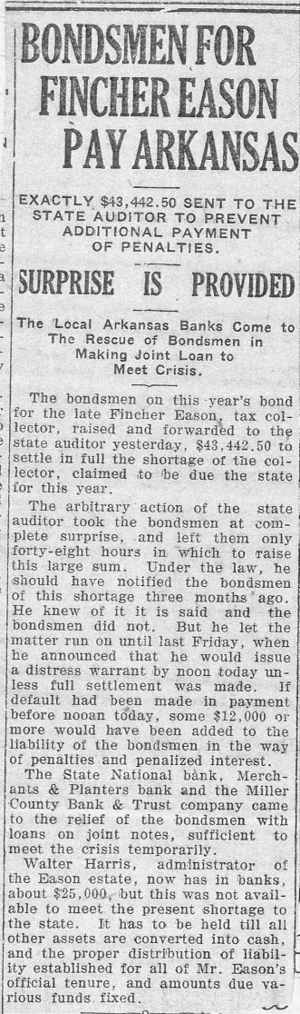 Bondsmen for Fincher to Pay Arkansas 10-10-1925