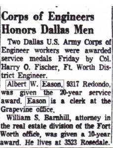 Albert Eason service, corps of engineers