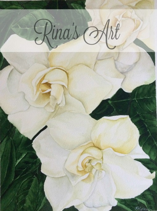 "My original gardenia painting in watercolor on 12"" x 16"" Hahnemuhle 100% cotton, 140lb, 300gsm, acid-free paper. I love these gardenia flowers. It was exhausting and punishing on my back painting it, maybe that's why when someone from Toronto, Canada expressed her desire to buy it but when I quoted to her the shipping fee (about $20), I never heard from her again - I was hurt. This original painting is still available at my Rina's Art Gallery on Facebook (link at the sidebar, below ""SSubscription"". Price is P2000 ($40) plus shipping."