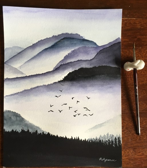 My watercolor painting of hills in the mist. (Reference photo from tournesol50.tumblr.com).