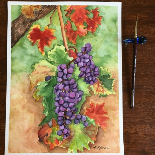 """GRAPEVINE"". My watercolor painting on 9"" x 12"" wc paper."
