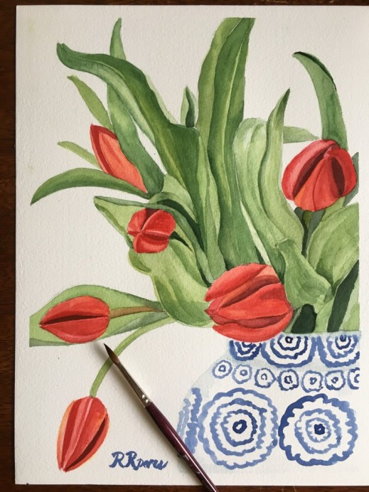 "TULIPS IN BLUE AND WHITE VASE. My watercolor painting on 9"" x 12"" wc paper."