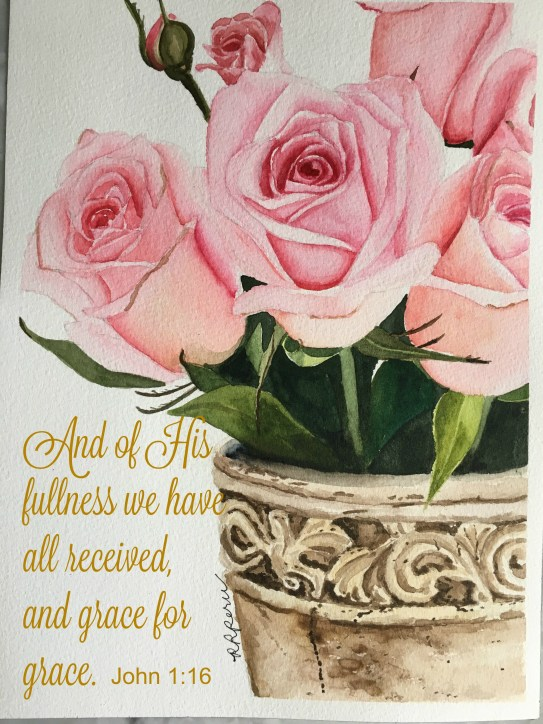 "GRACE. My original watercolor painting on 9"" x 12"" wc paper. (Reference photo by Serah Loud via IG)."