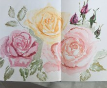 I made just a super quick doodle of these roses on my mixed media journal. But if you look closer, notice the metallic gold, copper, and ruby on the petals' and leaves' edges. For aren't answered prayers and fulfilled dreams like gilded things?
