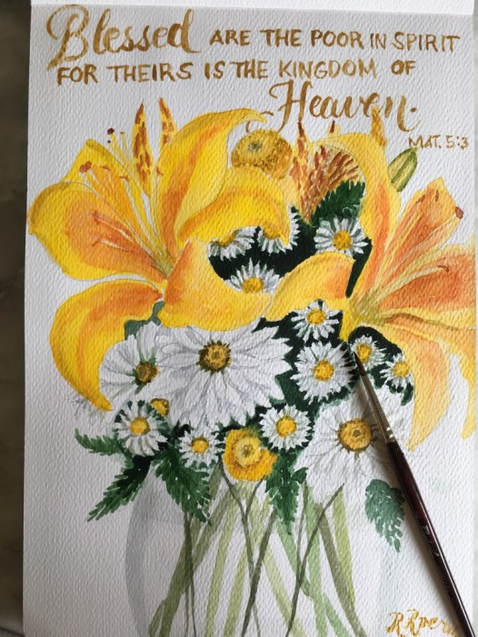 YELLOW BLOOMS on my Monologue journal. I love painting on my journal and using metallic gold paint for Bible verse.