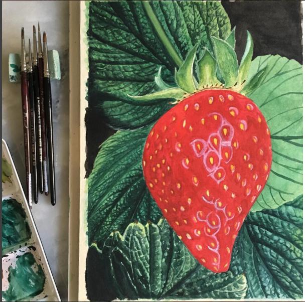 AT THE CENTER. My unfinished strawberry painting. I am dismayed that, after examining my heart, this project indeed bears my fingerprints and not the Lord Jesus'. It's a deep-in-the-heart thing I need not divulge :( .