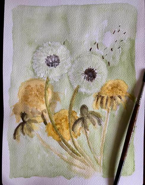 Still not well and strong enough to paint decently :). Dandelions for my blog theme today.