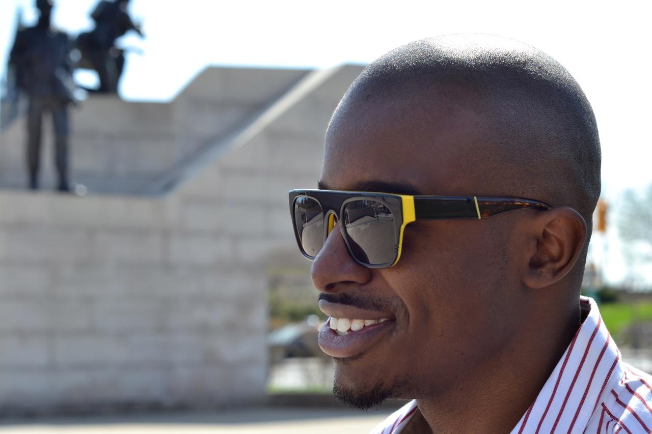 wild soul sunglasses, mens square sunglasses, black man smiling, ottawa fashion, candid shot, black sunglasses, cool shades