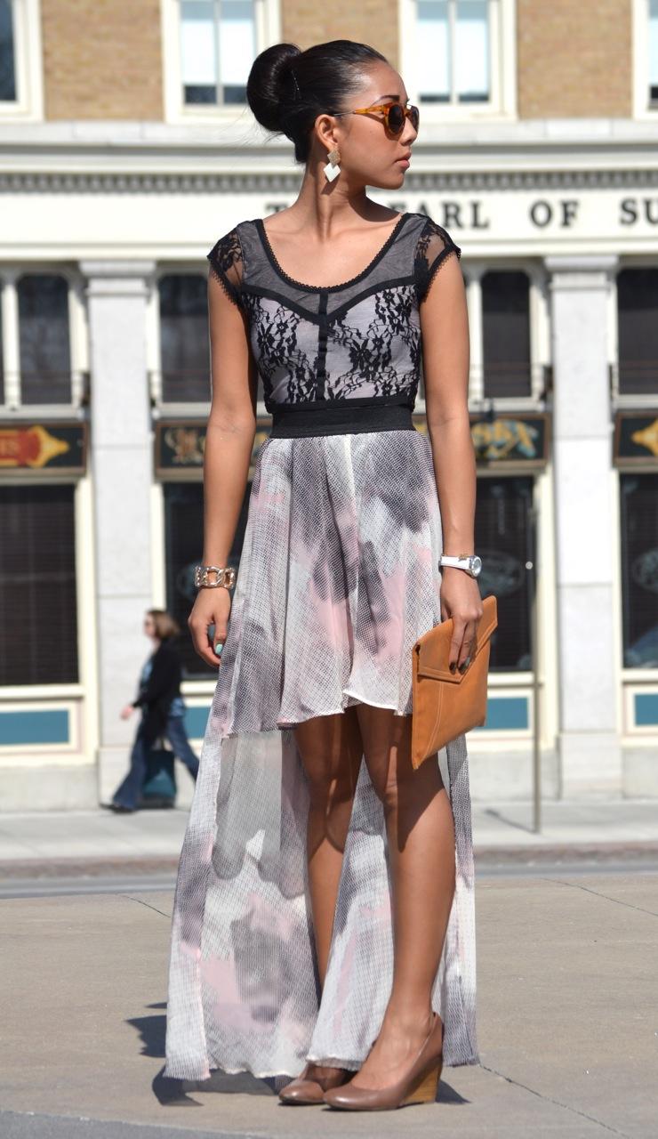 chiffon skirt, nude lace top, hi low pink skirt, sock bun, asian girl walking, chiffon street style, urban outfitters skirt