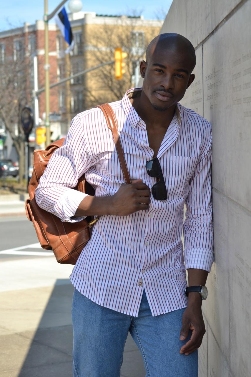 handsome black man, black male model, black fashion model, vintage leather backpack, banana republic