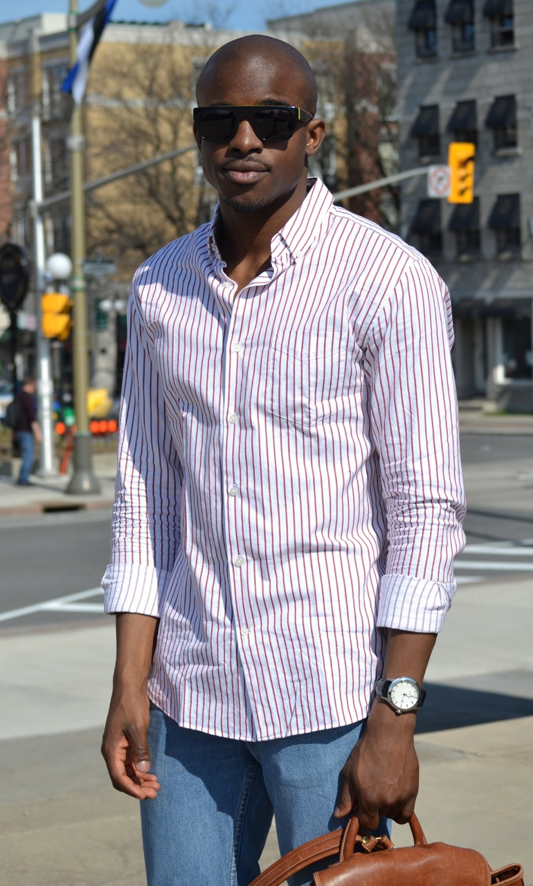 wild soul sunglasses, red and white striped shirt, handsome black man, summer street style, denim street style