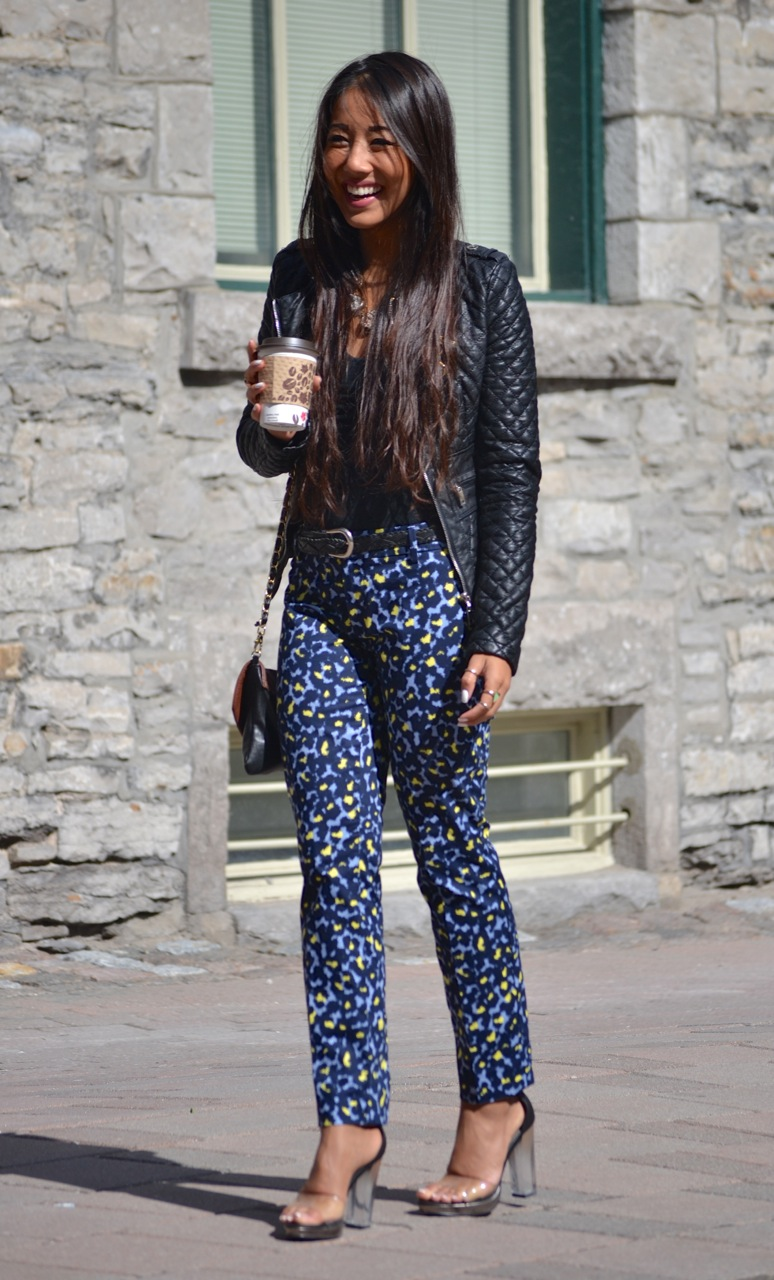 ottawa fashion, pretty asian girl, girl smiling, street style, le chateau jacket, clear heels
