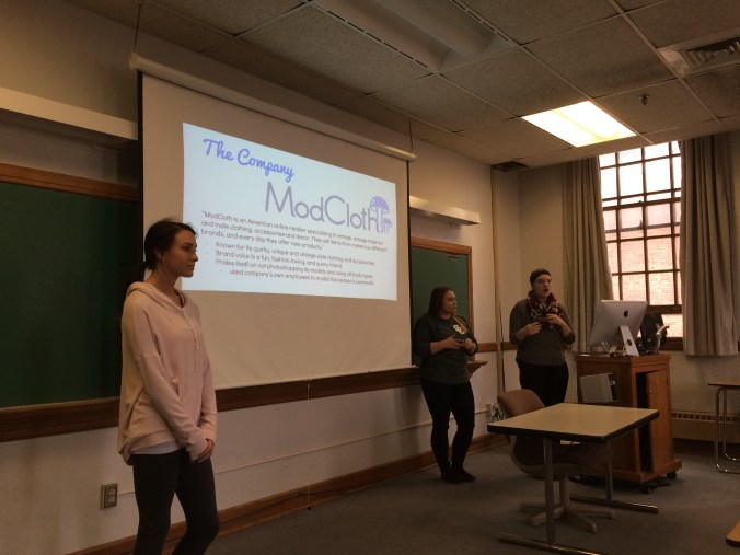 Gina Rossi, Caroline Wahl and Olivia Usitalo present their Tapping Trends pitch for ModCloth