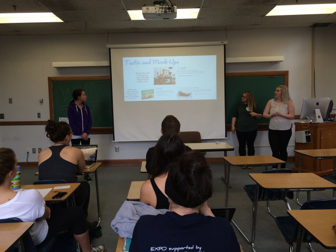 Gina R., Caroline W., and Olivia U. present their GhOST+E pitch for ModCloth
