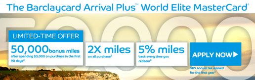 The new limited-time 50,000 mile offer on the Barclaycard Arrival Plus