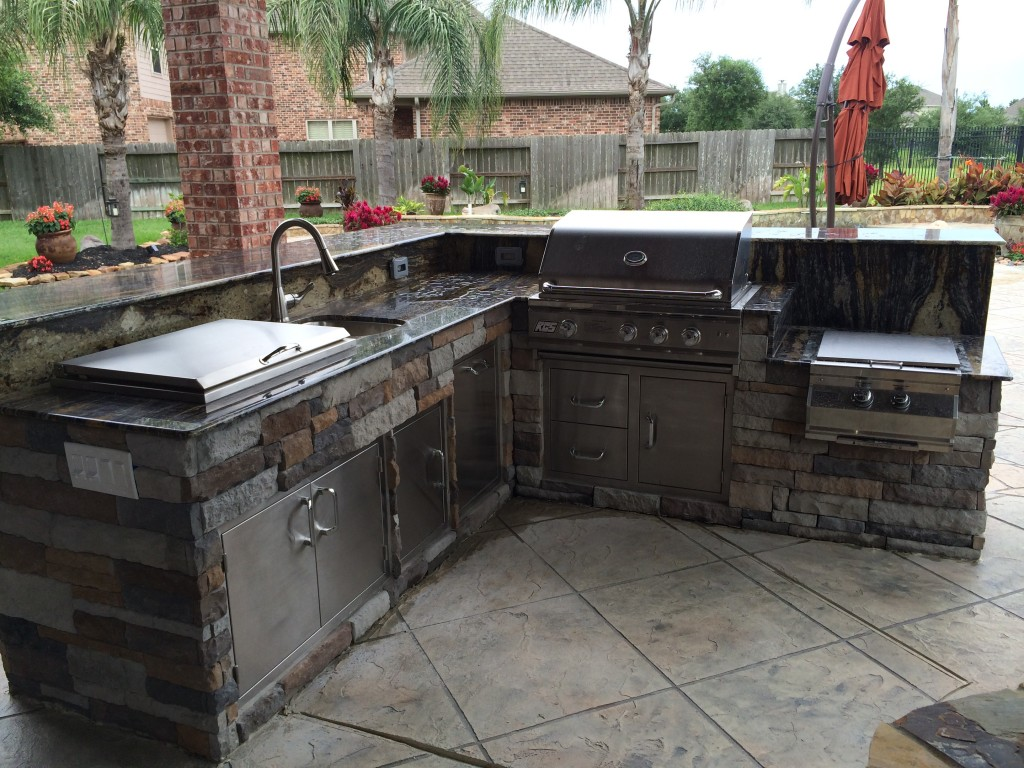 outdoor kitchens outdoor kitchen designs Our projects in Houston include outdoor living space designs like this outdoor kitchen island with an