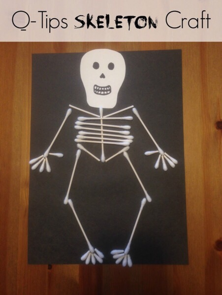 q tip skeleton template - easy halloween q tips skeleton craft outnumbered 3 to 1