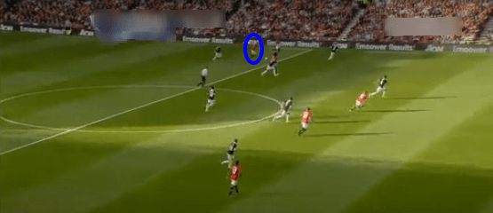 Januzaj (circled) plays a through ball to Rooney against Southampton