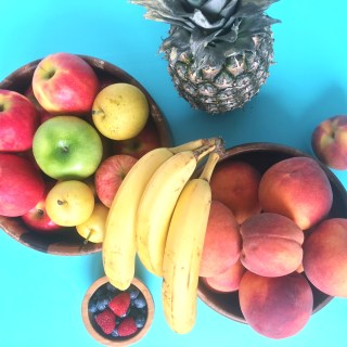 fruit, bananas, peaches, apples, berries, pineapple, fruit salad