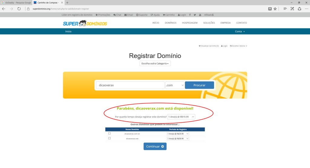 Valor do domínio .com no superdominios