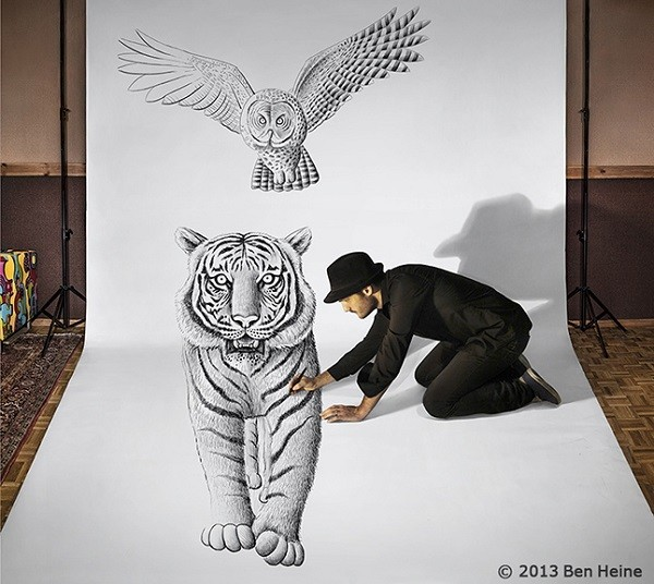 如幻似真的3D素描艺术 by Ben Heine图片