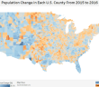 Population Change in Each U.S. County From 2015 to 2016