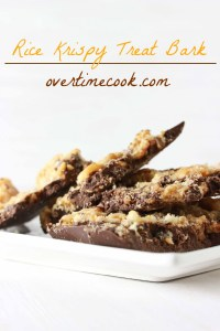 rice kriispy treat bark on overtimecook
