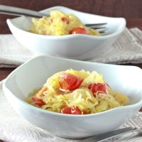 Garlic Spaghetti Squash with Tomatoes and Basil and a Review and Giveaway of The No Potato Passover