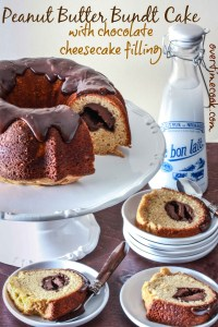 Peanut Butter Bundt Cake with Chocolate Cheesecake Filling + Triple Giveaway!